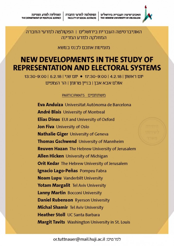 New Developments in the Study of Representation and Electoral Systems